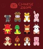 Animal Dolls Chinese Zodiac Set Cartoon Vector Illustration
