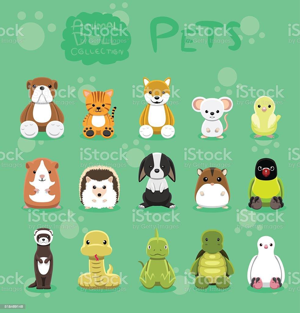 動物ペット人形セットカットイラストベクトルイラストレーション
