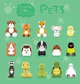 Animal Dolls Pet Set Cartoon Vector Illustration