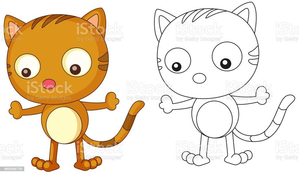 Tierische Doodle Gliederung Für Süße Katze Stock Vektor Art Und Mehr
