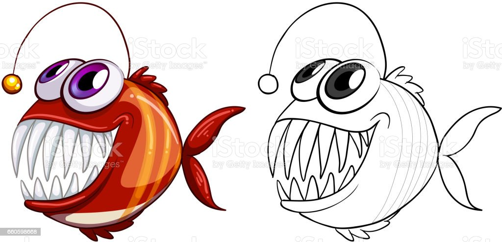 Animal doodle outline for fish royalty-free animal doodle outline for fish stock vector art & more images of animal