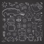 Animal Doodles Set. Cute Animals sketch. Hand drawn Cartoon Vector illustration on chalkboard background