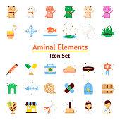 Animal Elements vector icon set