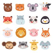 Cute animal heads with emotions vector set. Cartoon happy animal emotions love expression isolated face character. Adorable mammal smile animal emotions. Animal characters little collection.