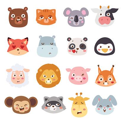 Animal Emotions Vector Illustration向量圖形及更多一組物體圖片