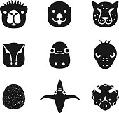 animal face black flat icon set