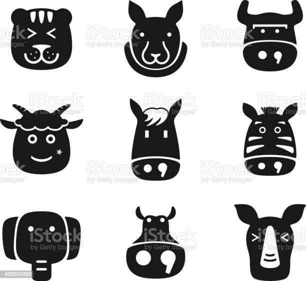 Animal face black flat icon set vector id459334355?b=1&k=6&m=459334355&s=612x612&h=vsc5mxs8nfzsr7tr gaflevuv5qivbi8z5b7eejj sg=