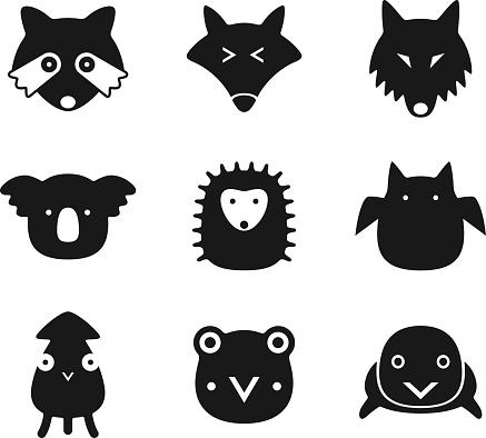 animal face black flat icon set