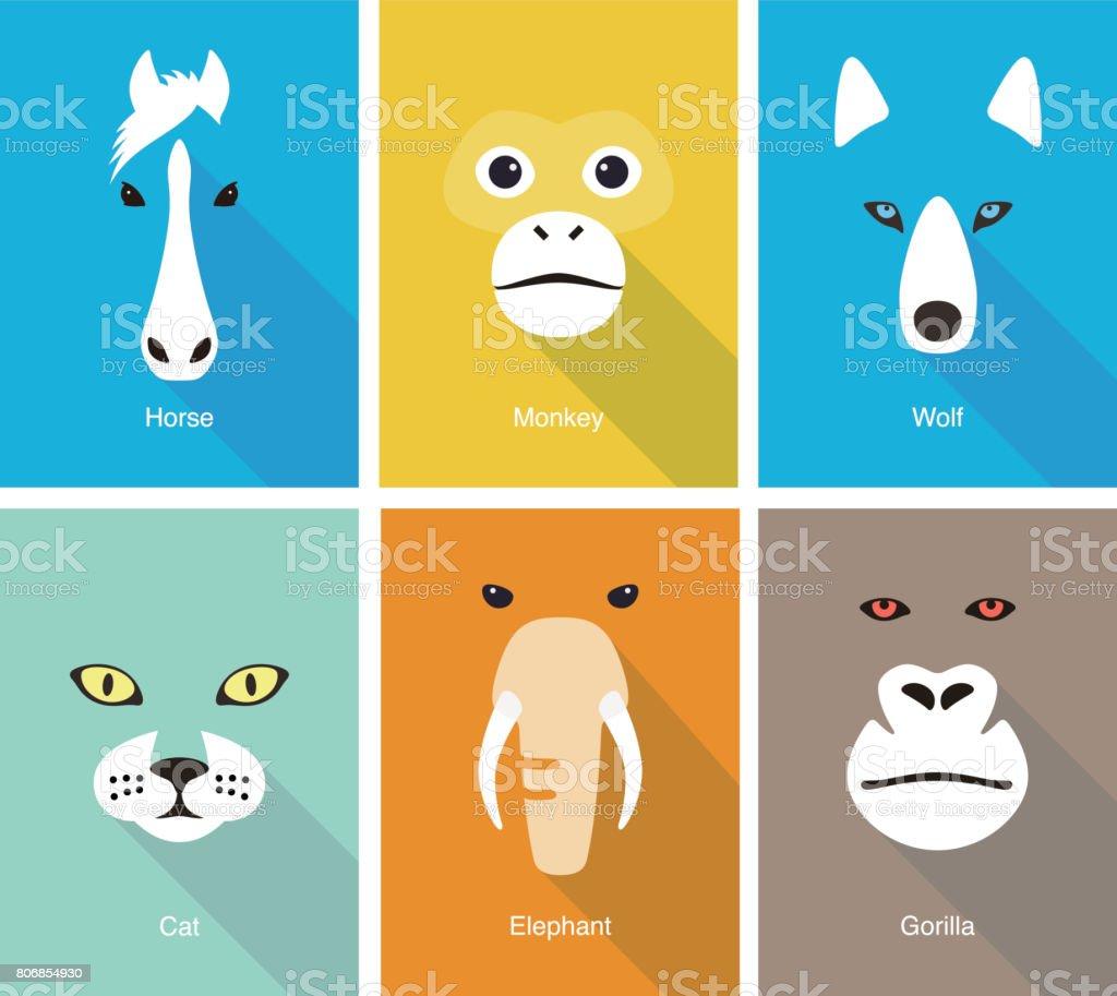 動物顔フラット アイコン セットのデザイン、ベクトル イラスト ベクターアートイラスト