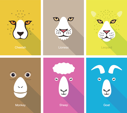 animal face flat icon set design, vector illustration