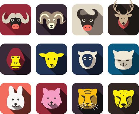 animal face flat icon set