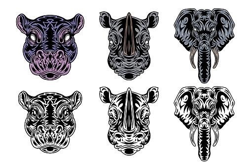Animal face hippo, rhino, elephant vintage retro styled. Vector illustration isolated on white background. Design element.