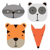 Animal face icons simlple art geometric illustration. Icon, graphic symbol, part of image design . Animals and Africa