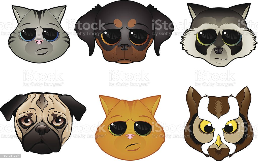 Animal Face Icons vector art illustration