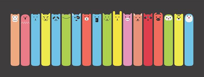 Animal face label icon design set