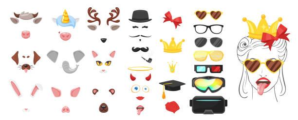 tierische gesicht oder karnevalsmaske - tierkopf stock-grafiken, -clipart, -cartoons und -symbole