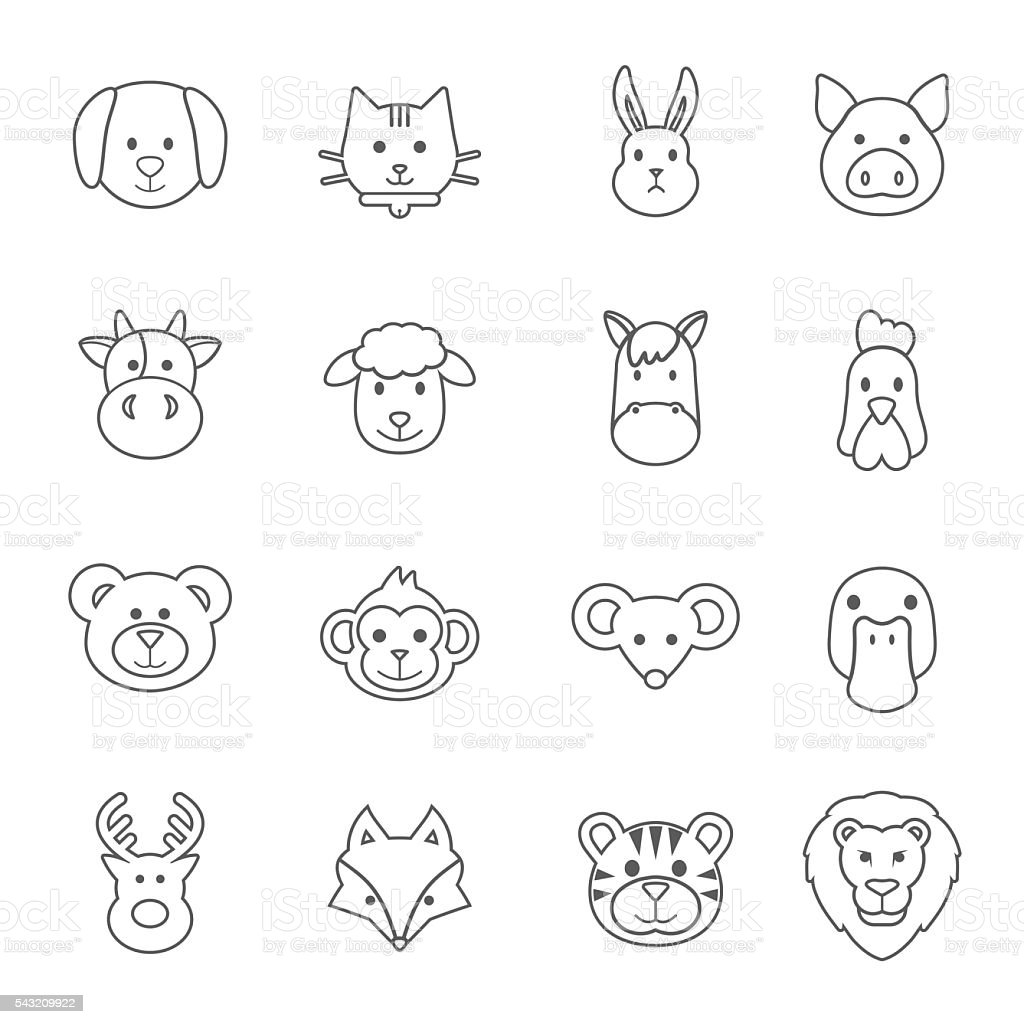 animal face set vector art illustration