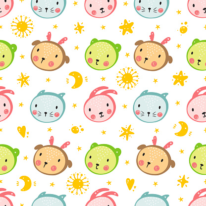 Animal Faces Seamless Pattern Cartoon Cute Baby Animals