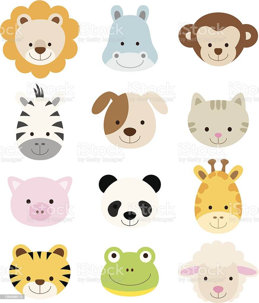 Animal Faces Set vector art illustration