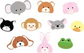 Cute animal faces. Individually grouped and selectable.