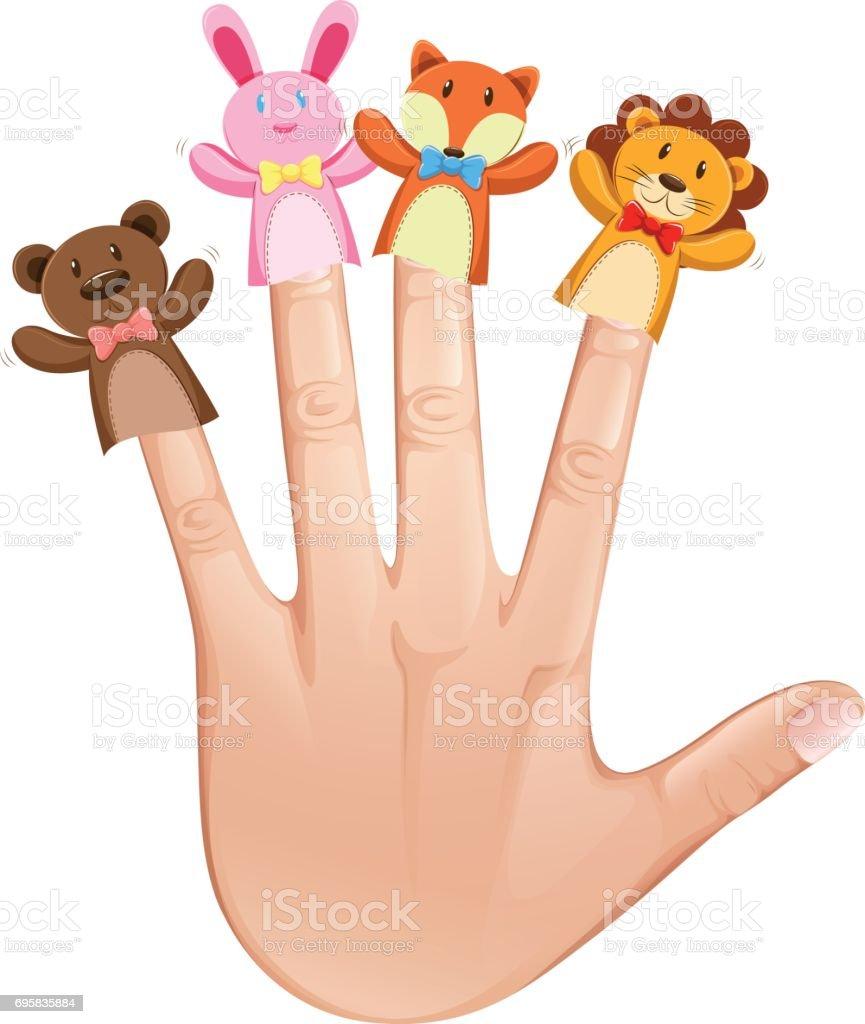 Tierische Fingerpuppen Menschlichen Hand Stock Vektor Art und mehr ...