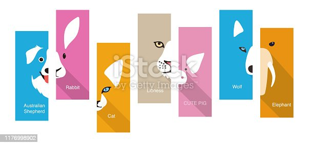 istock animal flat face icon, vector illustration 1176998902