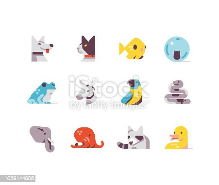 Assorted domestic animal flat icon set