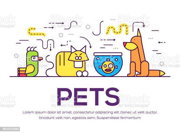 Animal flat thin line illustration icons set outline cute home pets vector id955053990?b=1&k=6&m=955053990&s=612x612&h=crm2zq1 csqkoenwmhwe94q0lyoe10grej6lanty1t0=