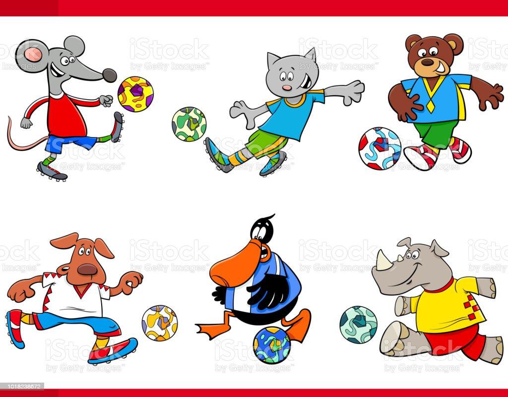 Tierische Fussballspieler Comicfiguren Stock Vektor Art Und