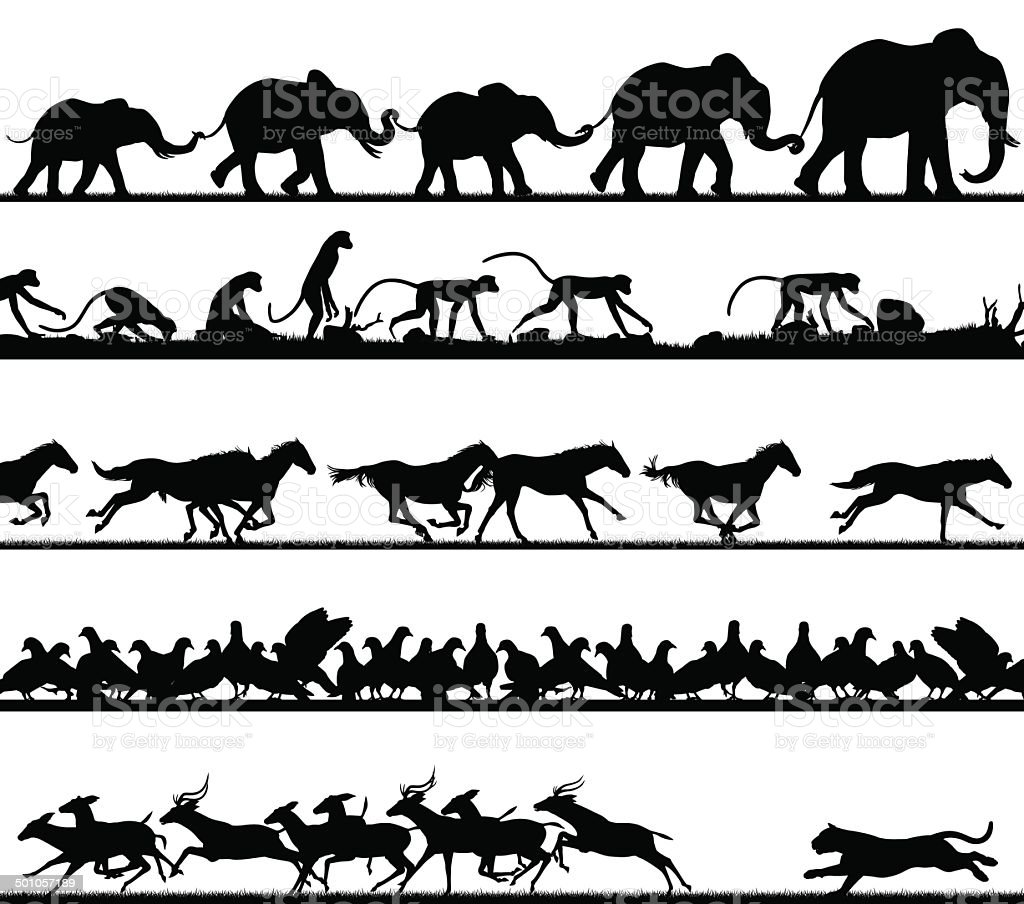Animal foreground silhouettes vector art illustration