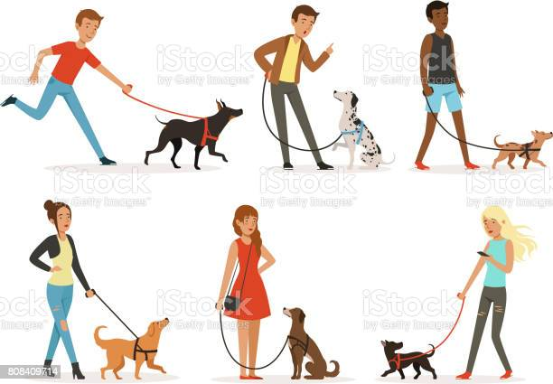 Animal friendship happy people walking with funny dogs illustrations vector id808409714?b=1&k=6&m=808409714&s=612x612&h=sqimeqbvsmmvcyioy0espufehbzfh0l xbafau3j3z4=