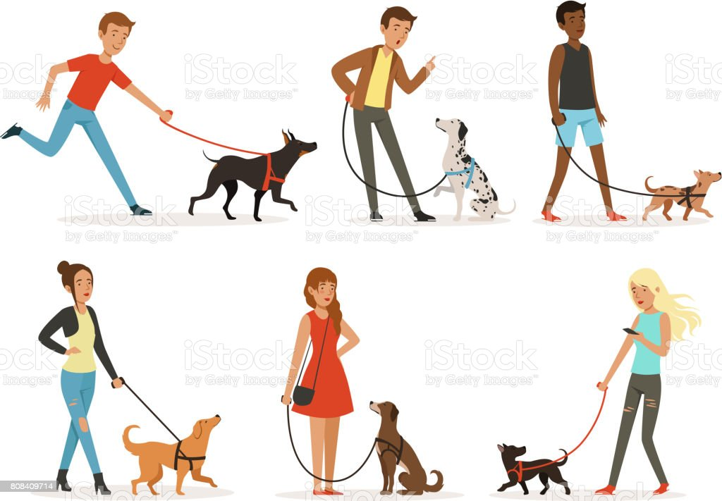 Animal friendship. Happy people walking with funny dogs. Illustrations in cartoon style vector art illustration