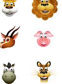 vector illustration of animal head cartoon collection