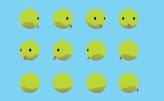 Animal Head Green Snake Animate Spinning Vector Illustration