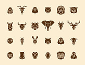 24 animal head icons. Unique vector geometric illustration collection representing some of the most famous wild life animals. vector eps10