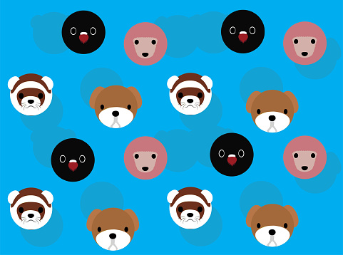 Animal Head Lovebird Poodle Ferret Bulldog Cartoon Illustration Seamless Background