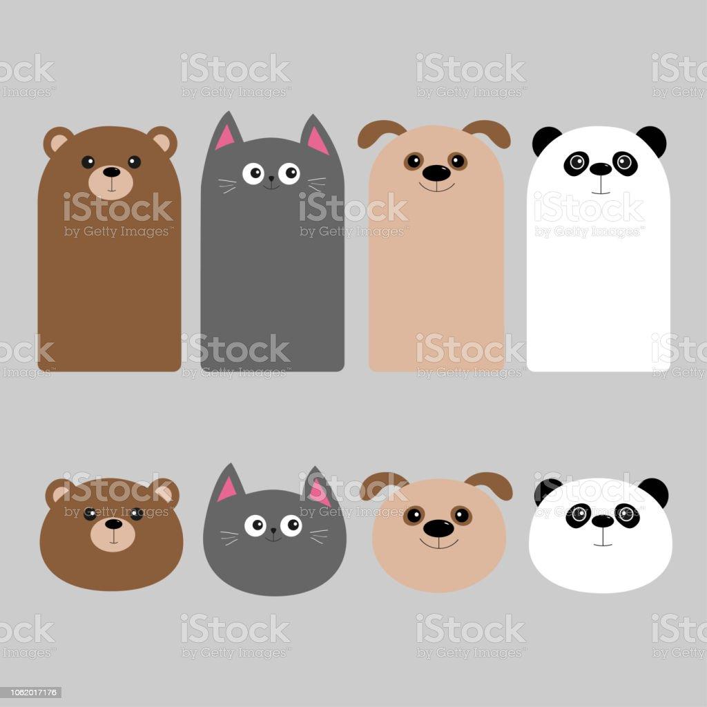 Jeu De Tête Animale Dessin Animé Kawaii Bébé Ours Chien Chat