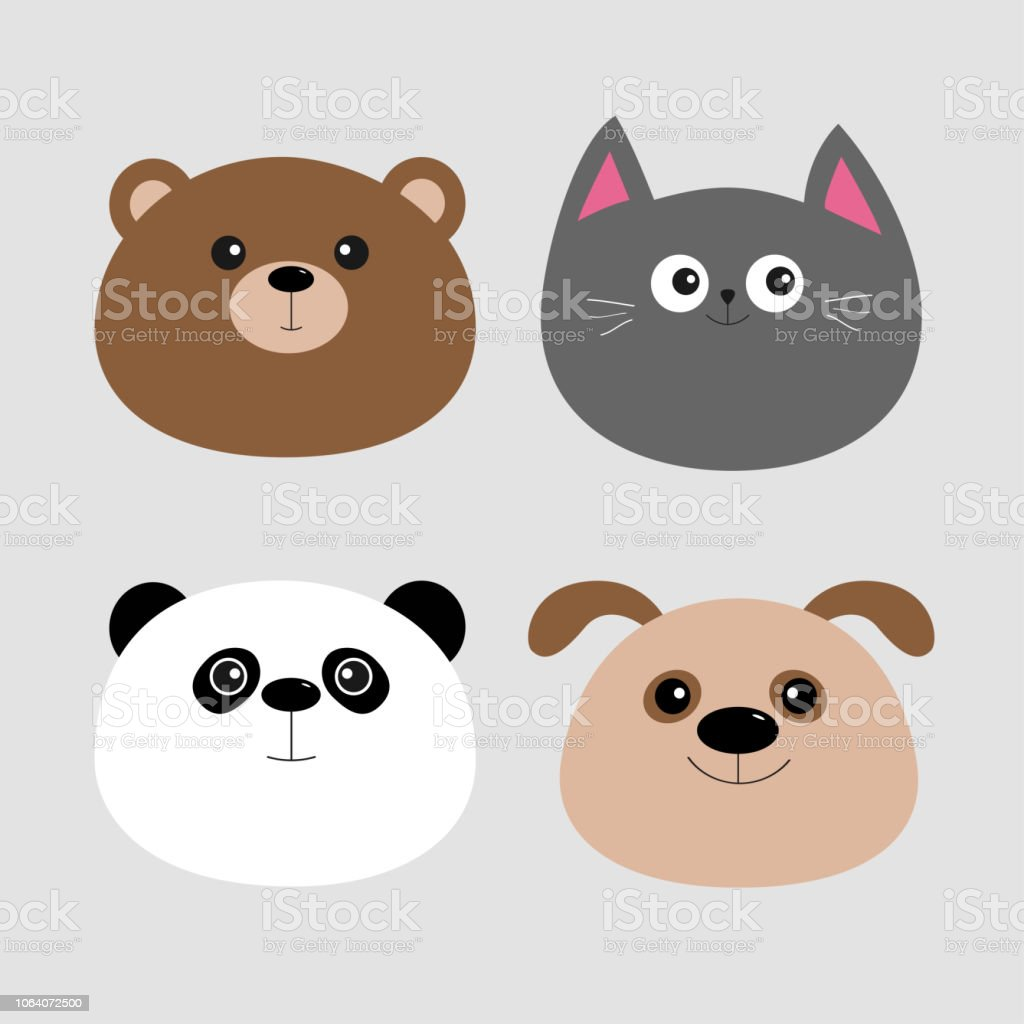 Jeu De Tête Animale Dessin Animé Kawaii Bébé Ours Chien Chat Et Panda Design Plat Fond Gris Vecteurs Libres De Droits Et Plus D Images Vectorielles De