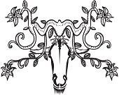 Animal head with horns