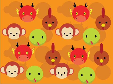 Animal Head Zodiac Set Dragon Snake Monkey Chicken Seamless Background