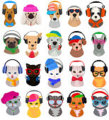 Animal headphones vector cat or dog dj in headphones listening to music illustration set of animalistic character cartoon wild doggy and kitty dj headgear or fashion pets isolated on white background.