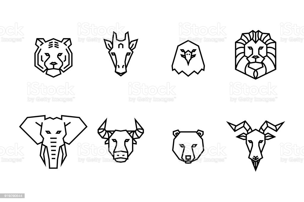 8 animal heads icons. Vector geometric illustrations of wild life animals. vector art illustration
