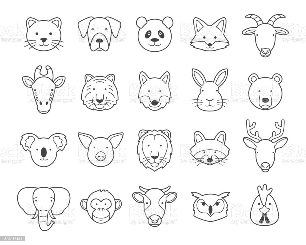 Animal heads royalty-free animal heads stock illustration - download image now