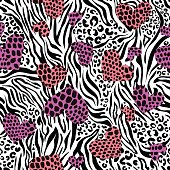 animal hearts with spots on zebra background