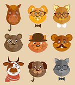 Decorative animal hipsters icons set cat horse dog and bear in hats and bow ties vector illustration.