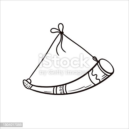 istock Animal horn for drinking alcoholic beverages. Vector hand-drawn clip art in the Scandinavian style 1304017055