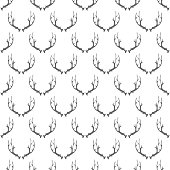 Animal Horns Seamless Pattern on White Background