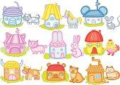 animal houses (vector illustration)