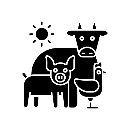 Animal husbandry black glyph icon
