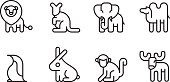 Animal Icon Set Rounded Vector